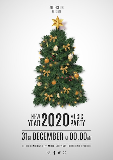 Moden merry christmas party flyer with realistic christmas tree Free Vector