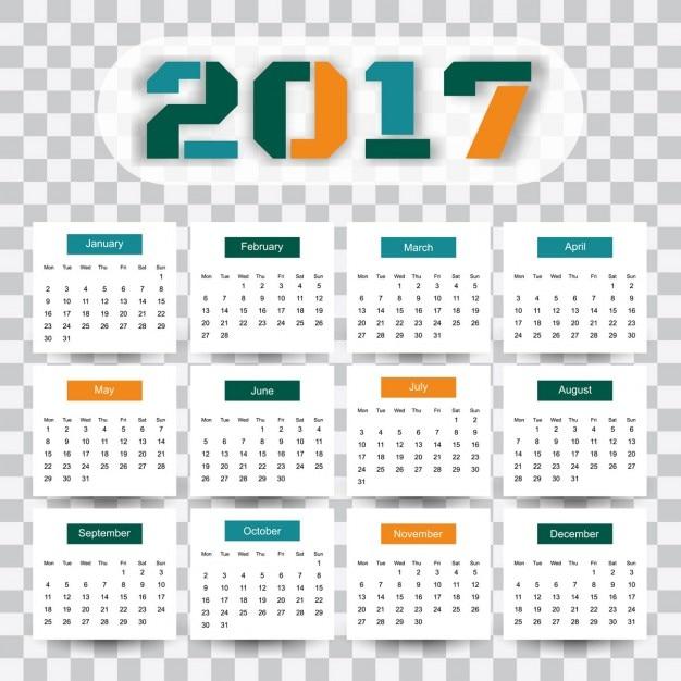 Modern 2017 Calendar Template Vector Free Download