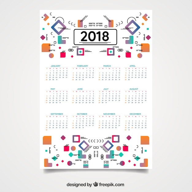 modern 2018 calendar with geometric shapes free vector