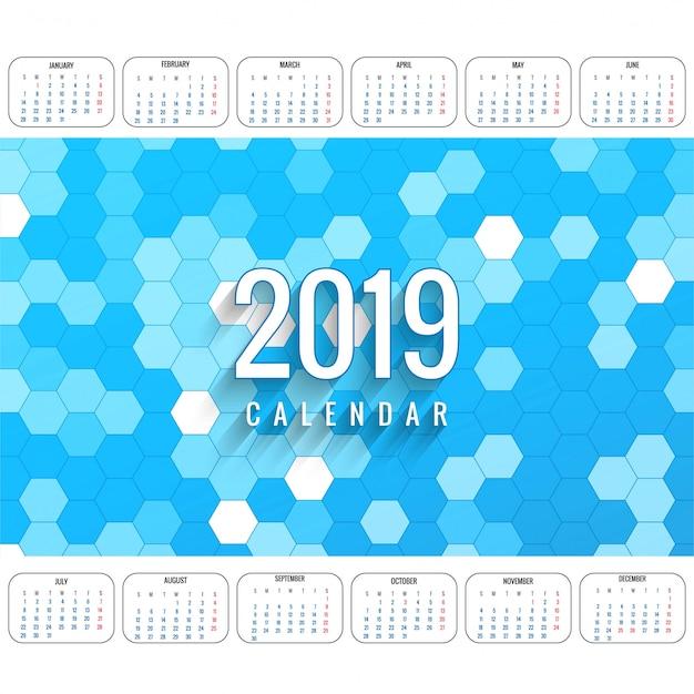 Modern 2019 colorful calendar template vector Free Vector