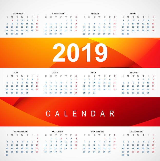 Modern 2019 red calendar template with wave vector Free Vector