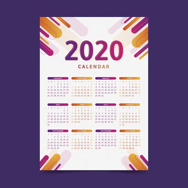 Modern 2020 calendar template Free Vector