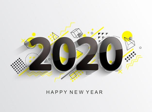 Modern 2020 design card Premium Vector