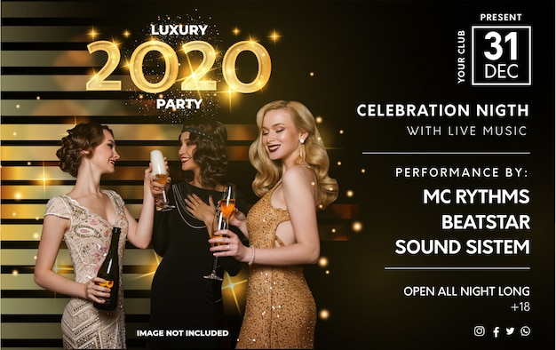 Modern 2020 luxury party poster template Free Vector
