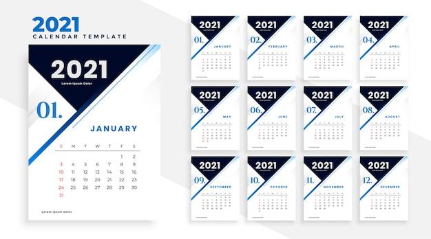 Design moderno modello di calendario aziendale 2021 Vettore gratuito