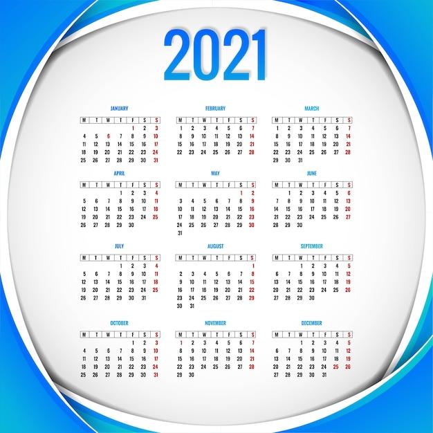Современный календарь на 2021 год. Бесплатные векторы