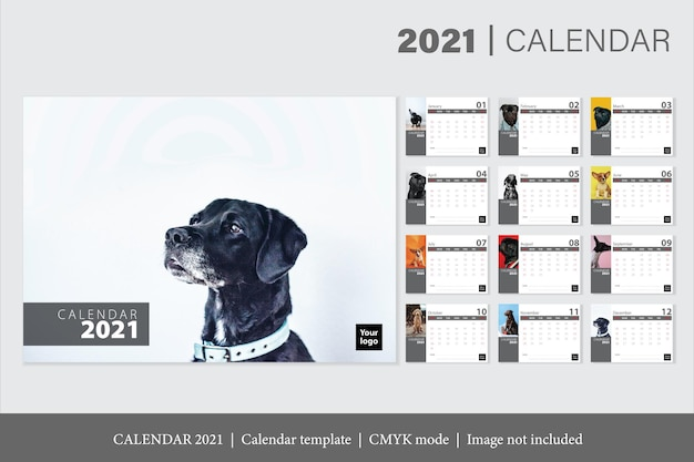 Современный календарь на 2021 год Бесплатные векторы