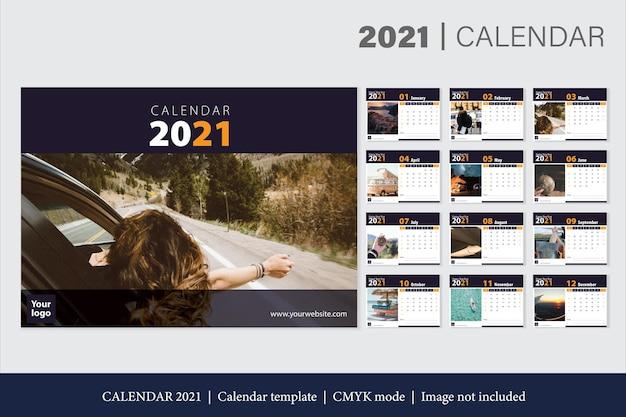 Modern 2021 calendar template Free Vector