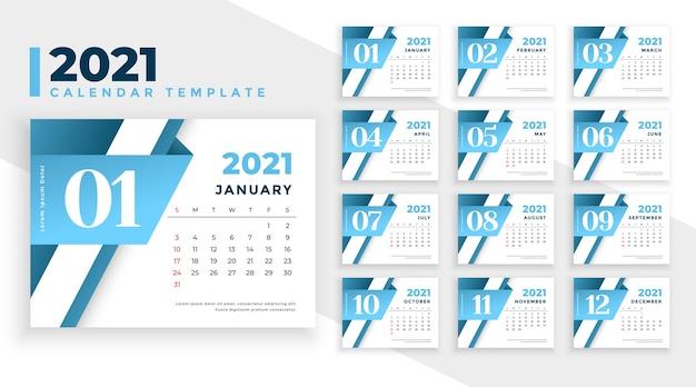 비즈니스 스타일에 현대적인 2021 새 해 달력 디자인 무료 벡터