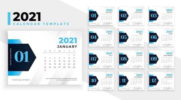Modello moderno di calendario del nuovo anno 2021 Vettore gratuito