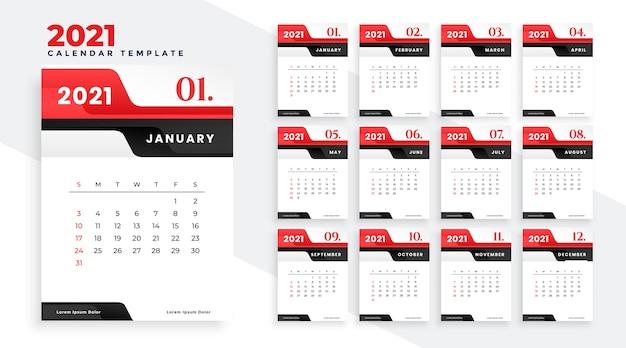 현대 2021 붉은 새해 달력 디자인 서식 파일 무료 벡터