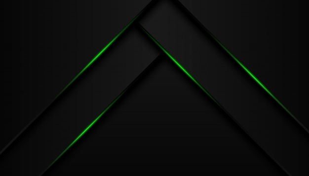 Modern 3d geometry shapes black lines with green borders on dark background Premium Vector