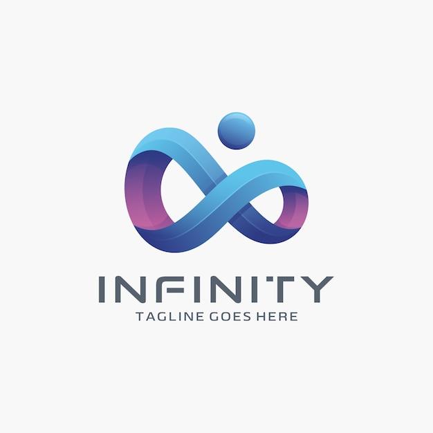 Modern 3d Infinity Logo Design With Dot Vector Premium border=