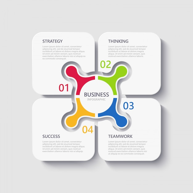 Modern 3d infographic template with 4 steps for success Premium Vector