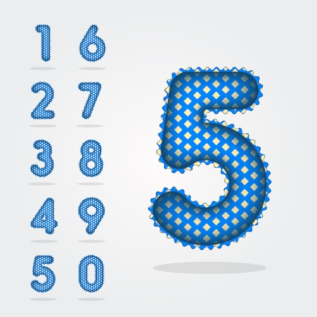 Modern 3d style balloons digits numbers collection 0-9 Premium Vector