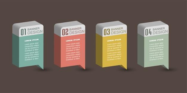 Modern 3d text box template, banner infographics Premium Vector