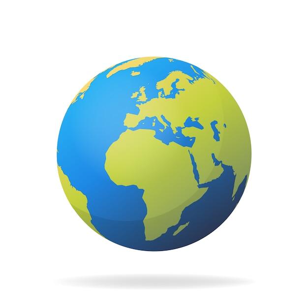 現代の3 d世界地図の概念は、白い背景で隔離。世界の惑星、地球球の図 Premiumベクター