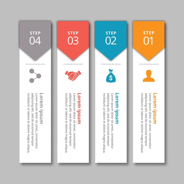 Modern 4 steps infographic banners Free Vector