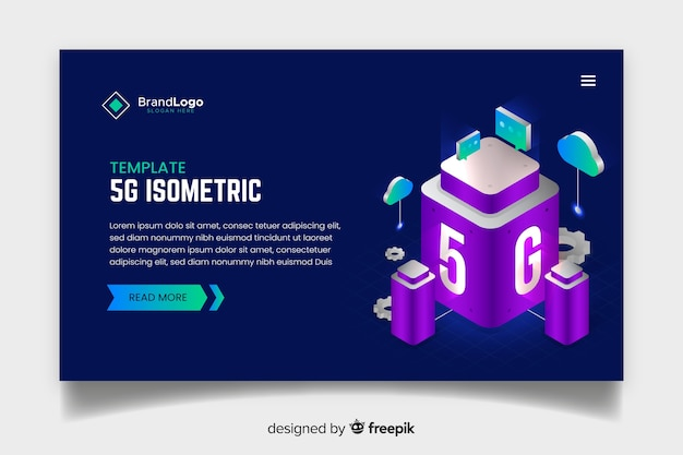 Modern 5g landing page in isometric design Free Vector
