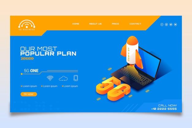 Moderno modello di pagina di destinazione 5g Vettore gratuito