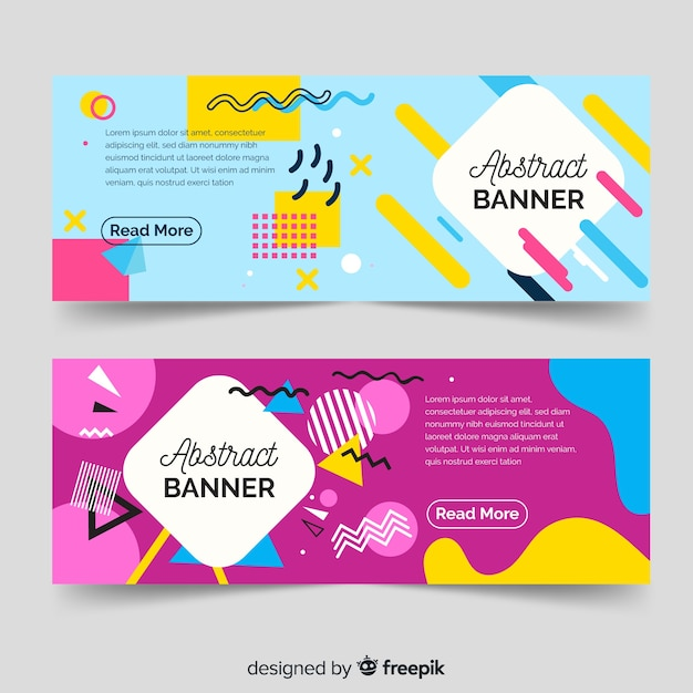 Modern Abstract Banners With Flat Design Vector Free Download