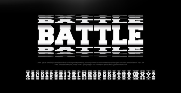 Modern abstract battle font alphabet Premium Vector