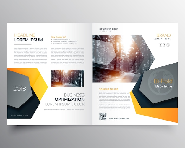Modern abstract bifold business brochure template or Modern design magazine