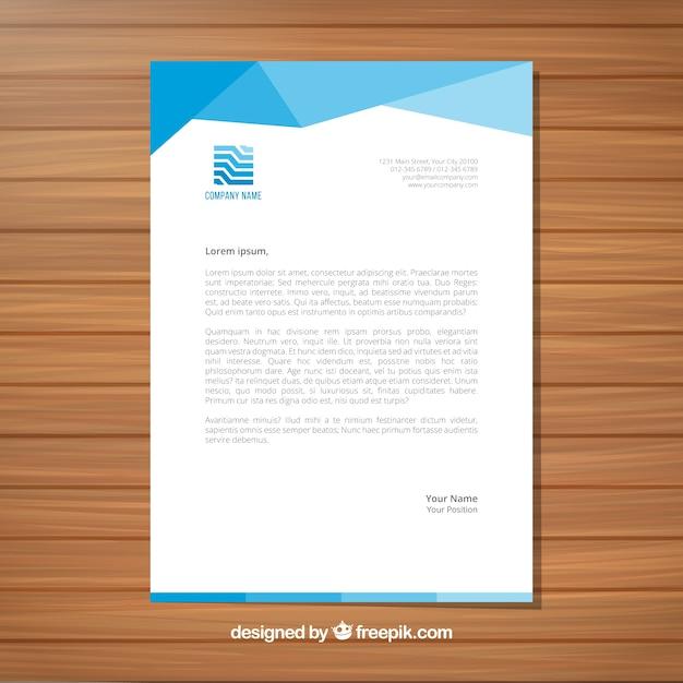 Modern abstract blue letterhead