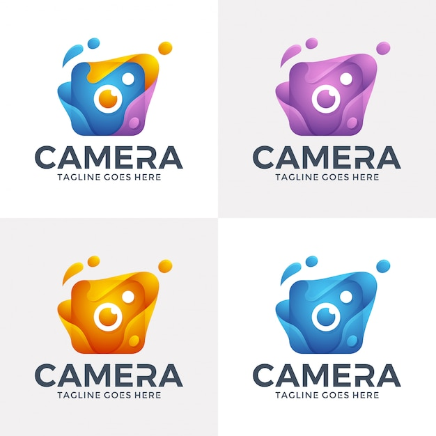 Modern abstract camera logo with 3d style. Premium Vector