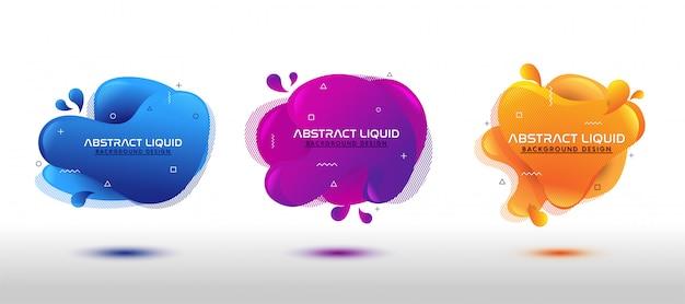 Modern abstract dynamic fluid liquid set Premium Vector