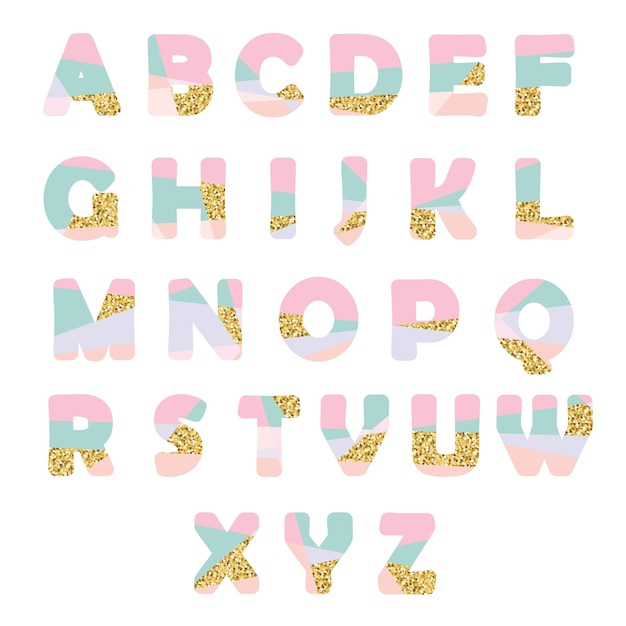 Modern abstract font with glitter. Premium Vector