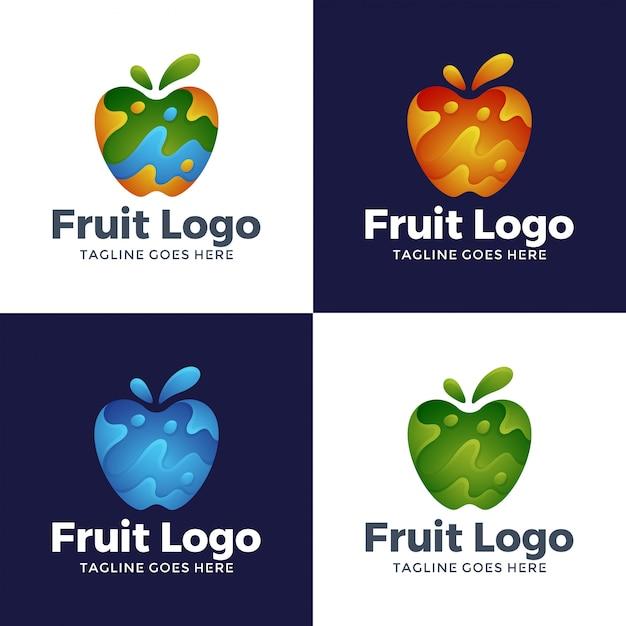 Modern abstract fruit logo design Premium Vector