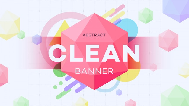 Modern abstract geometric banner with 3d hexagon figure. Premium Vector