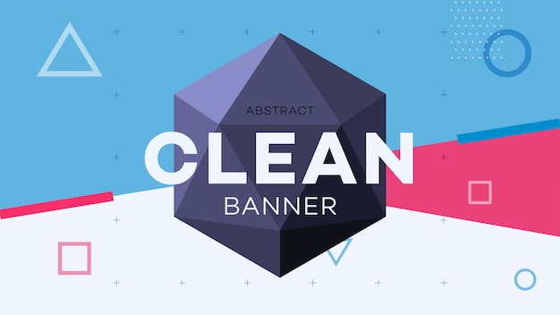 Modern abstract geometric banner with 3d hexagon figure. Premium Vector