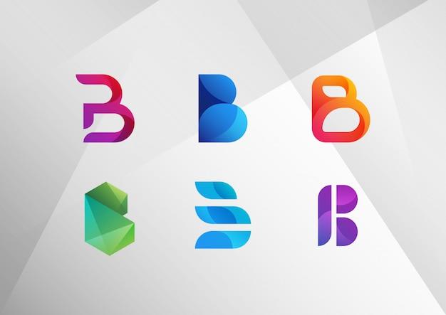 Modern abstract gradient b logo set Premium Vector