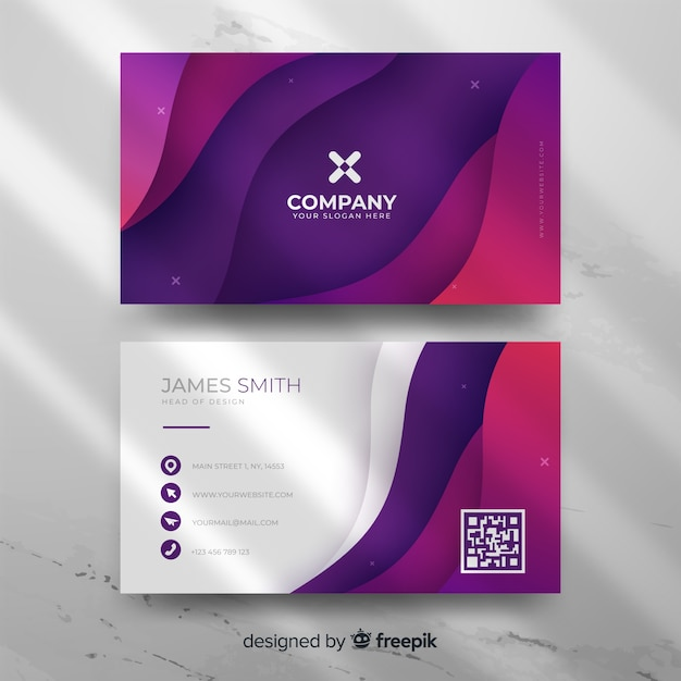 Modern abstract gradient business card template Free Vector