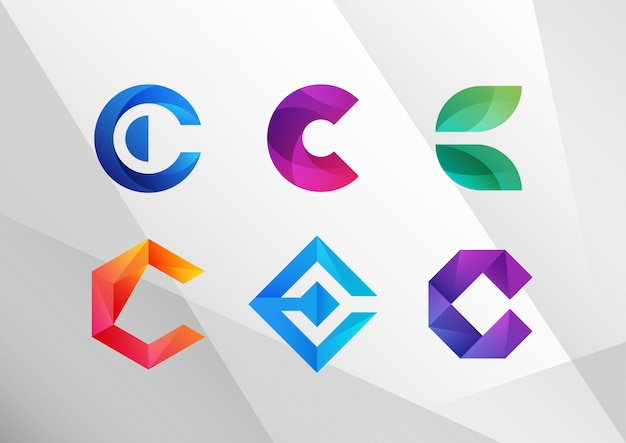 Modern abstract gradient c logo set Premium Vector