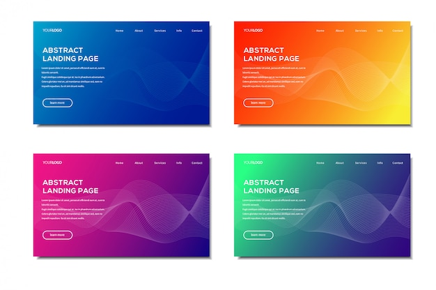 Modern abstract landing page set Premium Vector