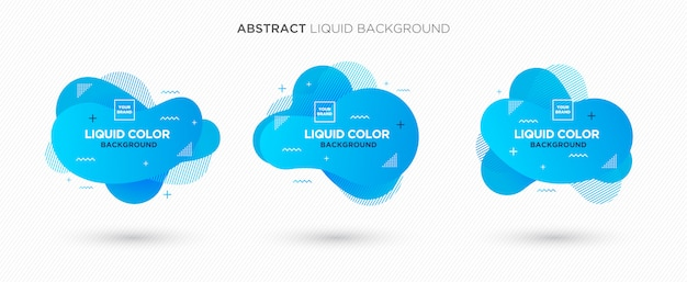 Modern abstract liquid vector banner set in blue coral colors Premium Vector