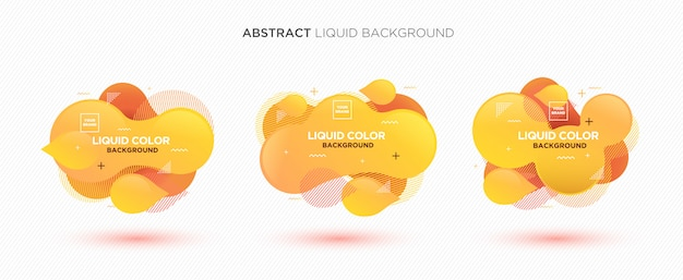Modern abstract liquid vector banner set in yellow colors. Premium Vector