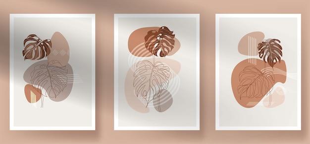 現代の抽象的なモンステラ自由奔放に生きる葉 無料ベクター