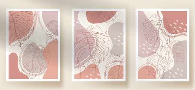Modern abstract monstera boho and shapes leaves Premium Vector