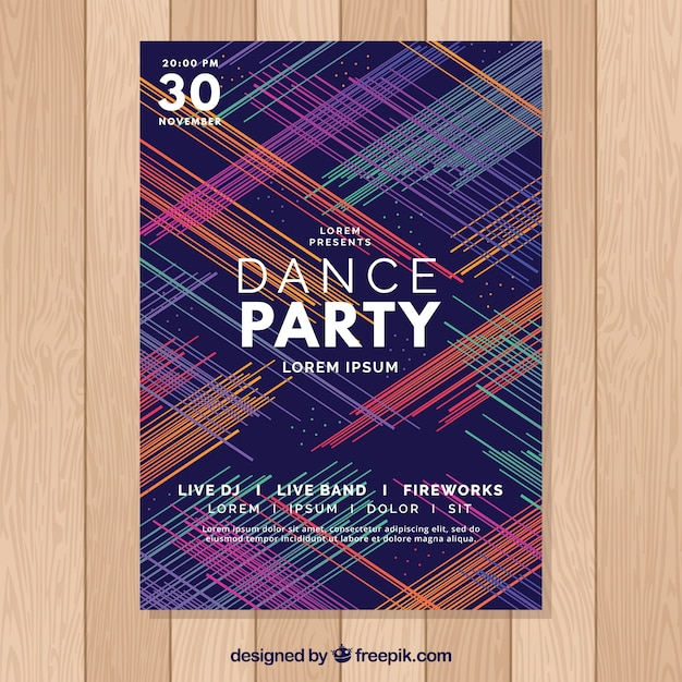 Modern abstract party poster template Free Vector