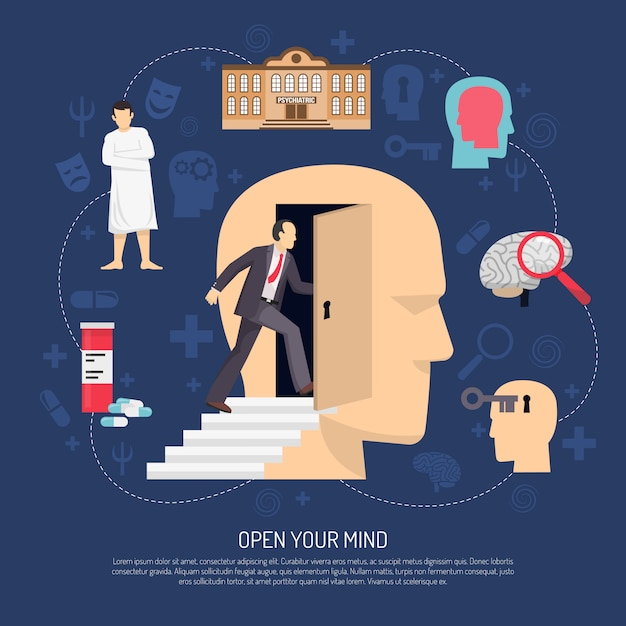 Modern abstract psychologist poster Free Vector