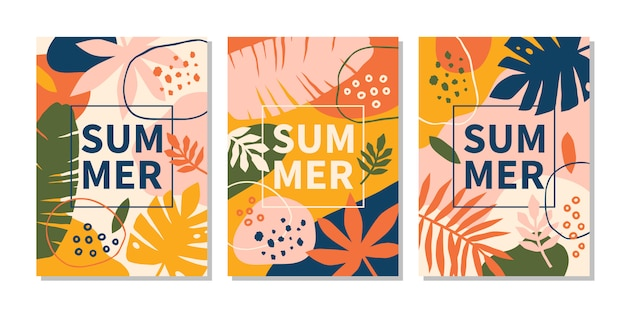 Modern abstract summer design templates with bright leaves and plants.h copy space. vector illustration Premium Vector