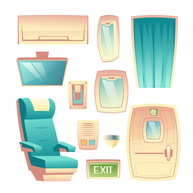 Modern airlines passenger aircraft saloon interior design elements cartoon vector set Free Vector