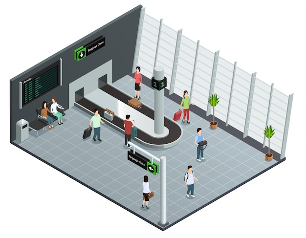 Modern airport baggage carousel isometric view poster with passengers waiting luggage Free Vector