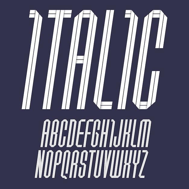 Modern alphabet folded of paper tape. italic font, white letters Premium Vector