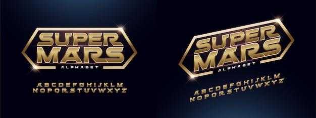 Modern alphabet font golden technology typography Premium Vector