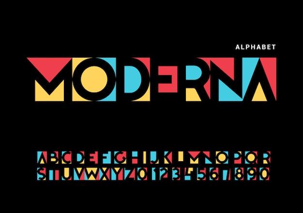 Современный алфавит. модный футуристический набор букв Premium векторы